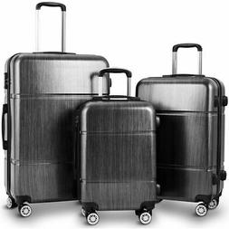 "GLOBALWAY 3Pc Luggage Set 20"" 24"" 28"" Trolley Suitcase ABS+P"