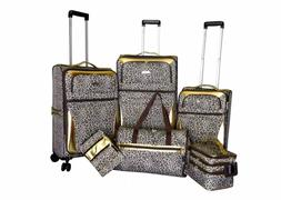 Gold Leopard 6 pc Expandable Spinner Luggage Set Handbag Sui