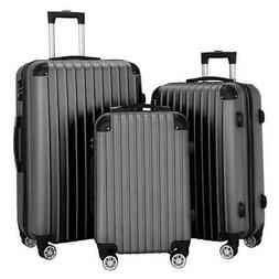 Hardside 3 Piece Nested Spinner Suitcase Lightweight Luggage