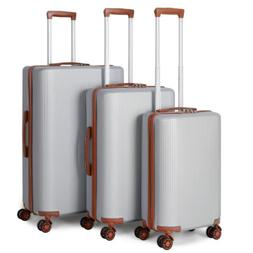 Hardside Expandable Luggage with Spinner Wheels, Silver, 3-P