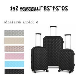 Hardside Lightweight Luggage With Spinner Wheels, 6 Clors,3-