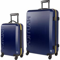 Nautica Hardside Spinner Carry On Luggage Set, Navy/Yellow