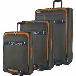 Nautica Hayes Point Grey Orange 3 Piece Wheeled Luggage Set