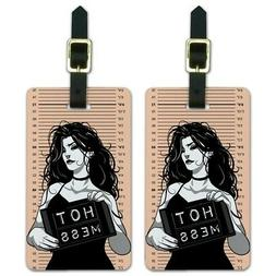Hot Mess Woman Mug Shot Luggage ID Tags Suitcase Carry-On Ca
