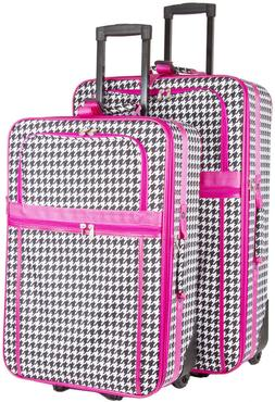 Houndstooth Expandable 2 pc Piece Luggage Set for Travel Sof