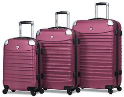 Dejuno Impact Hardside 3-Piece Spinner Luggage Set - Burgund