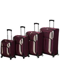ROCKLAND 4PC IMPACT SPINNER LUGGAGE SET  F155-BURGUNDY LUGGA