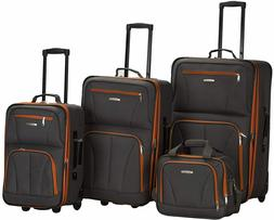Rockland Journey Softside Upright Luggage Set,Charcoal, 4-Pi