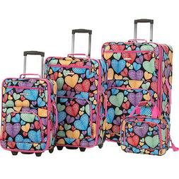 Rockland Luggage Jungle 4-Piece Luggage Set 4 Colors