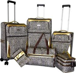 Karriage-Mate Gold Leopard 6-piece Expandable Spinner Luggag