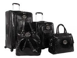 Kathy Van Zeeland Croco PVC Luggage Set 4 Piece Expandable S
