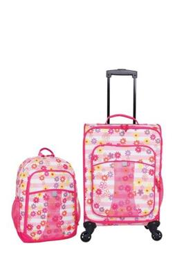 Kids 2 Piece Travel Set, Rolling Upright Luggage w Backpack,