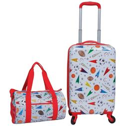 Kids 2 Piece Travel Set, Rolling Upright Luggage w Duffel Ba