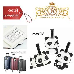 Kids Luggage Tags Set Fun Cute Panda Baggage Label For Trave
