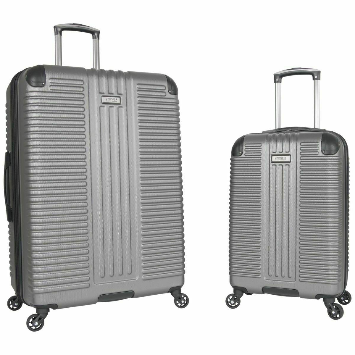 2 piece silver hardside luggage set out