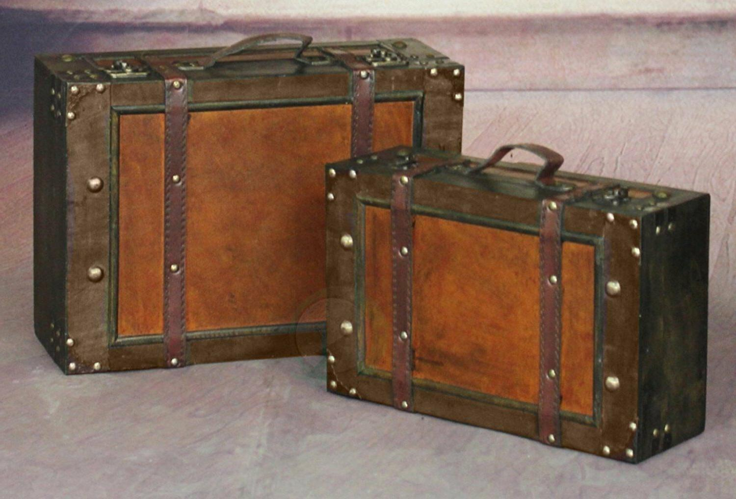 2 Steamer Suitcase Luggage Leather