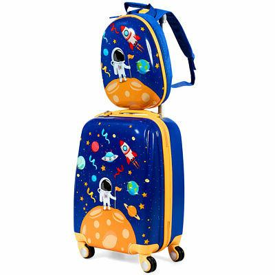 """Costway 2PC Kids Luggage Set 18"""" Rolling Suitcase 12"""" Backpa"""