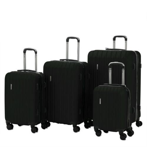 3/4Pcs ABS Carry On Travel Bag Spinner Suitcase w/ TSA