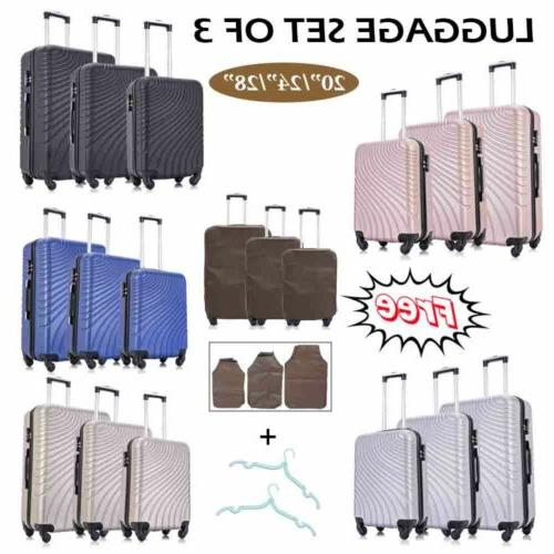 """20"""" 24"""" 28"""" 3 Pieces Luggage Set Travel Bag ABS Trolley Spin"""