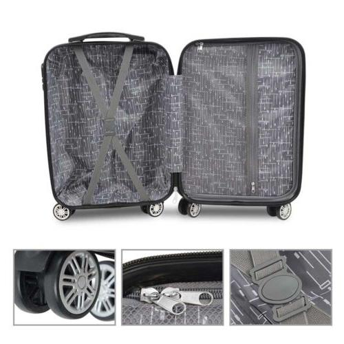 3PC Set Travel Bag Trolley Business Suitcase Gray