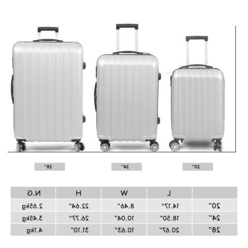 3PC Luggage Travel Trolley Spinner Business Gray
