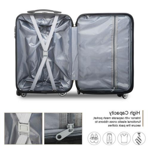 3PCS Bag Case ABS Spinner Carry On Suitcase