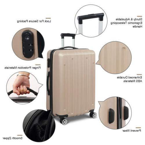 3PCS Travel Luggage Bag Case Trolley Spinner Flight Suitcase