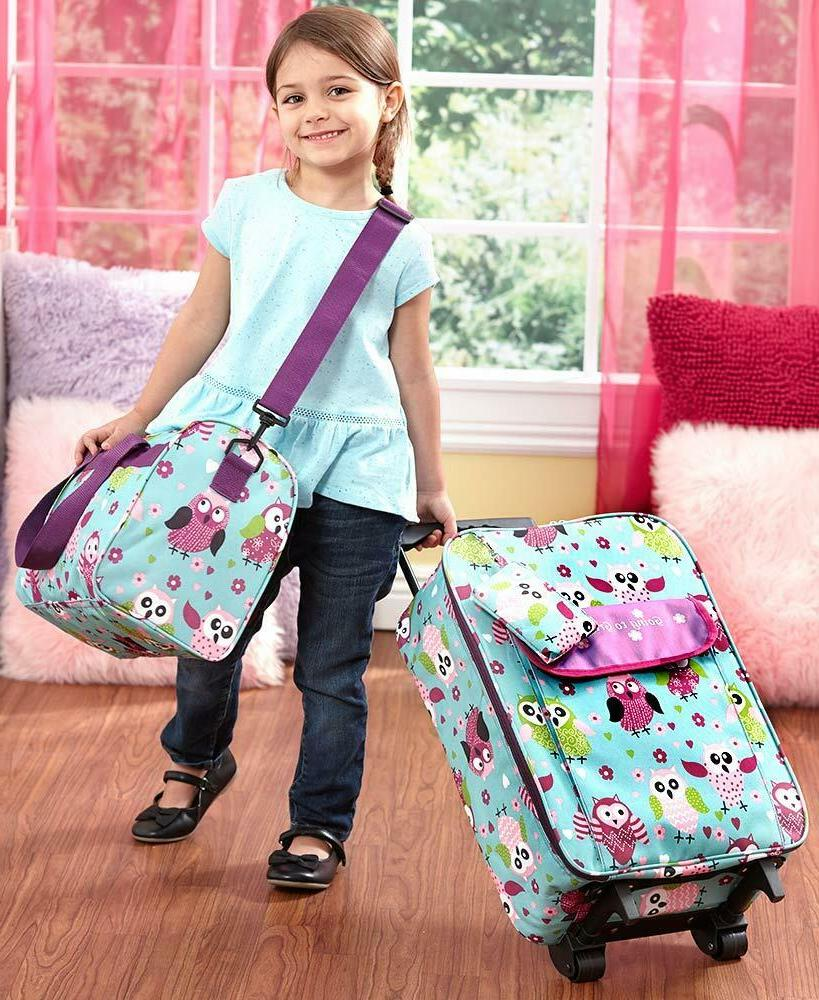 3 pc kids travel rolling luggage suitcase