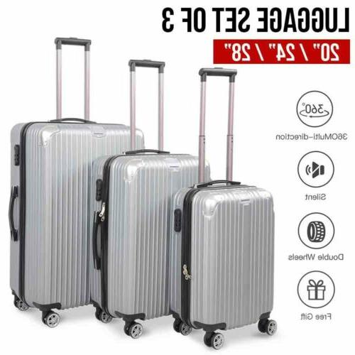 3PCS Lightweight Luggage Set Hardshell Spinner
