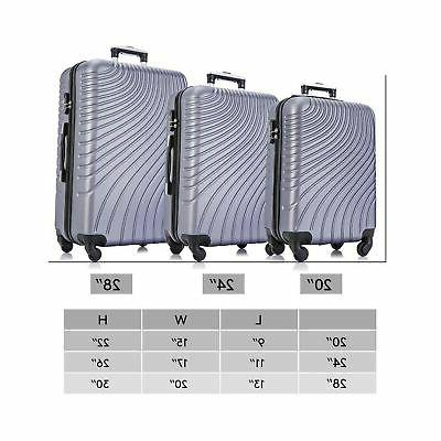Apelila 3 Piece ABS Luggage Wheels Shell Carry...