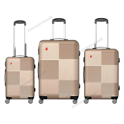 3 Pcs 20'' 24'' 28'' Luggage Set Spinner Trolley Travel Suit