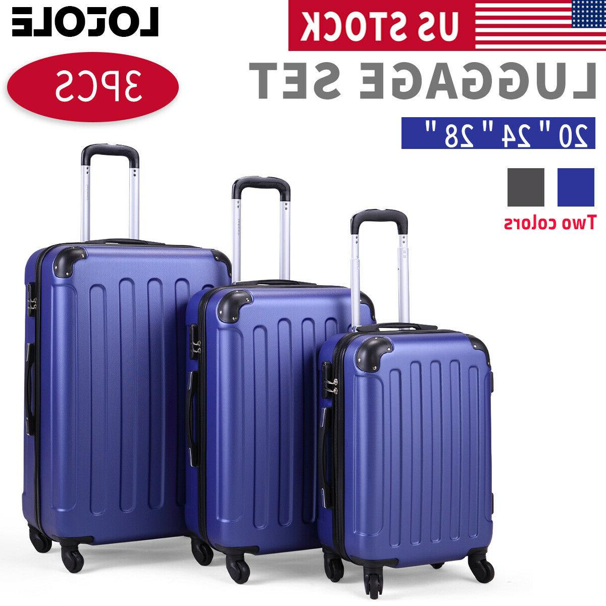 3 piece luggage carry on set trolley
