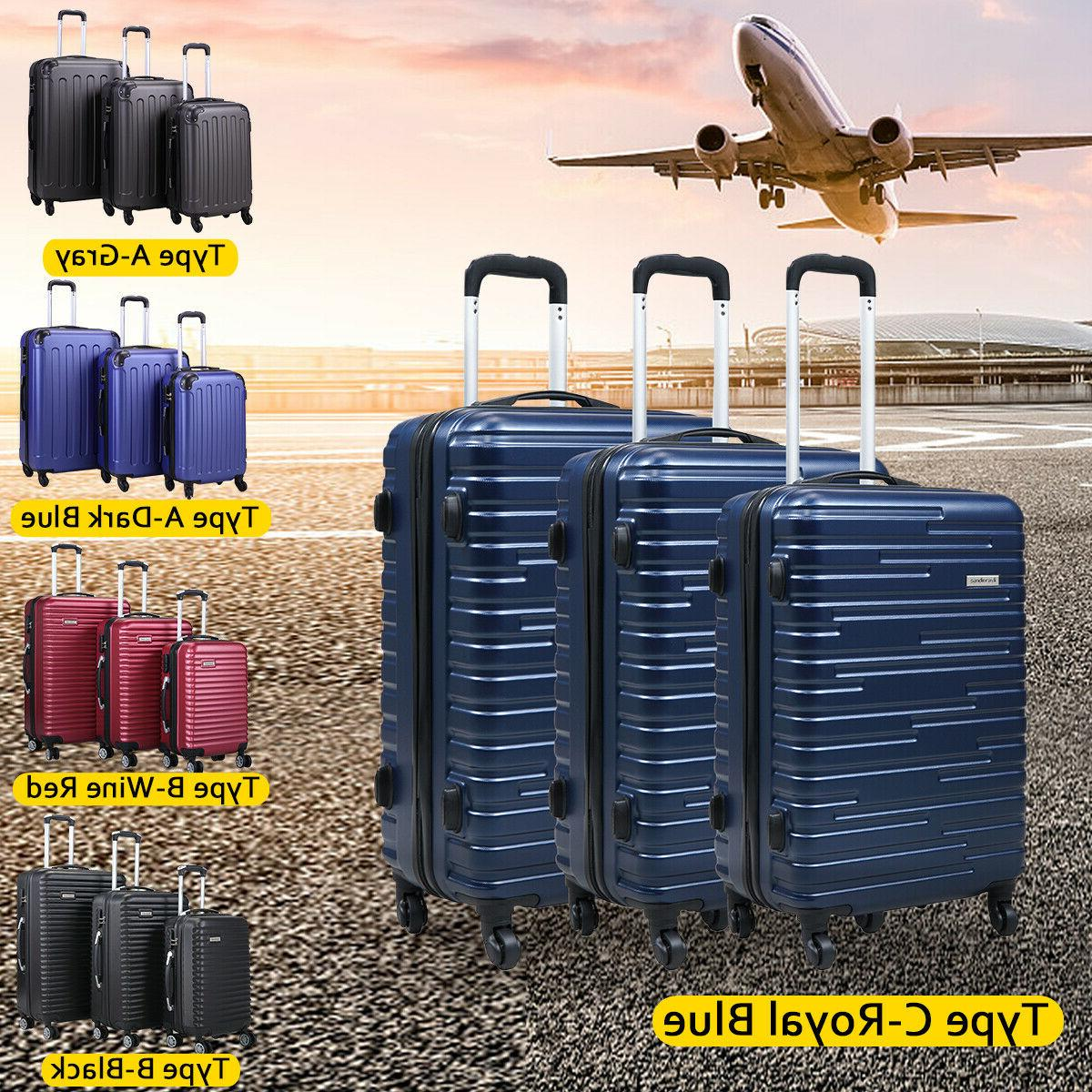 3 Pieces Luggage Set Carry On Trolley Suitcases Cover Travel