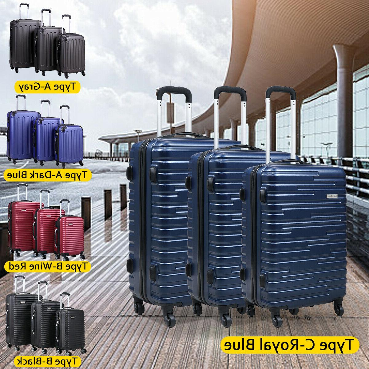 3 piece luggage set carry on trolley