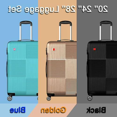 3 piece luggage sets lightweight durable spinner