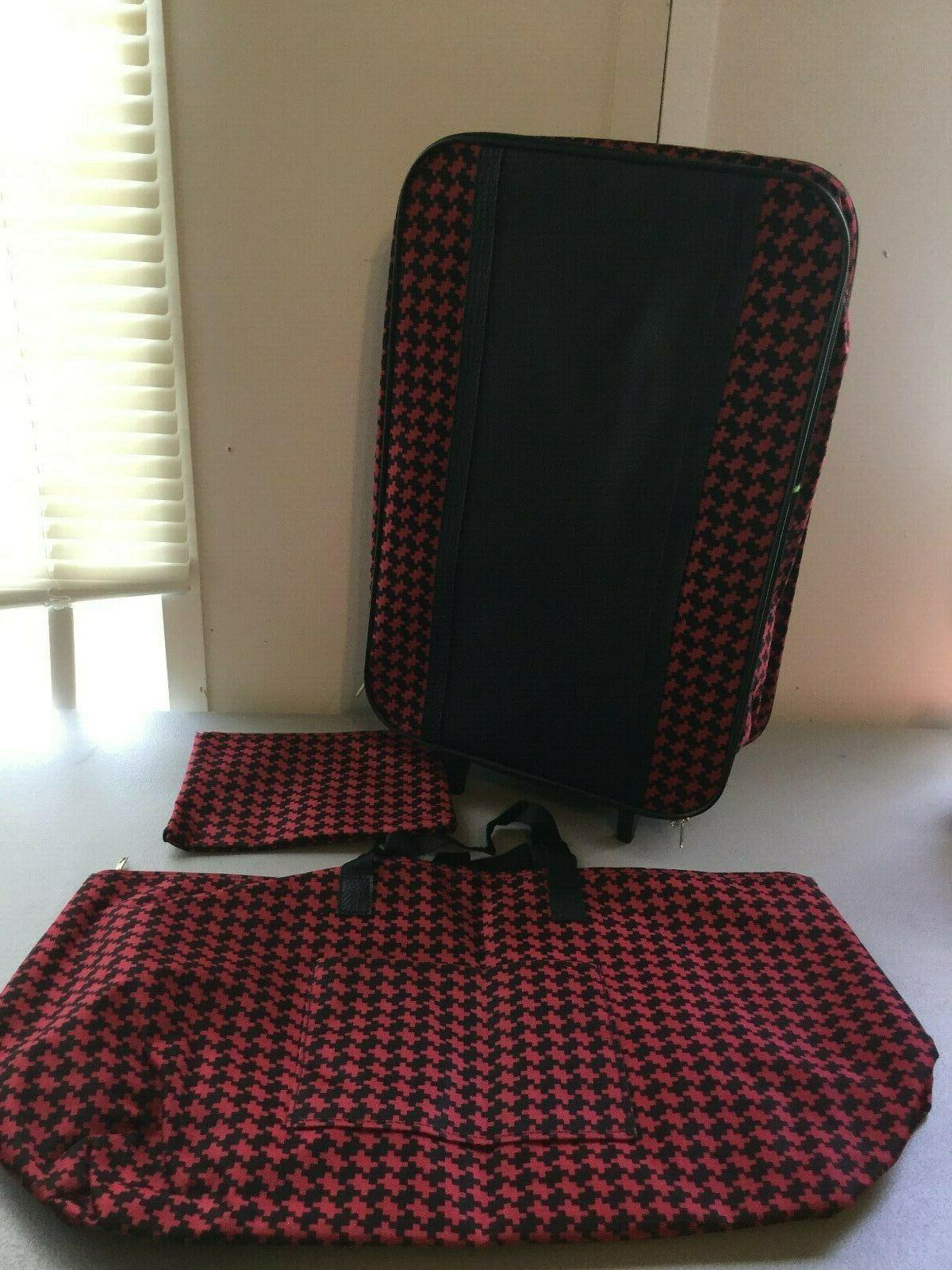 3 piece rolling luggage suitcase set red