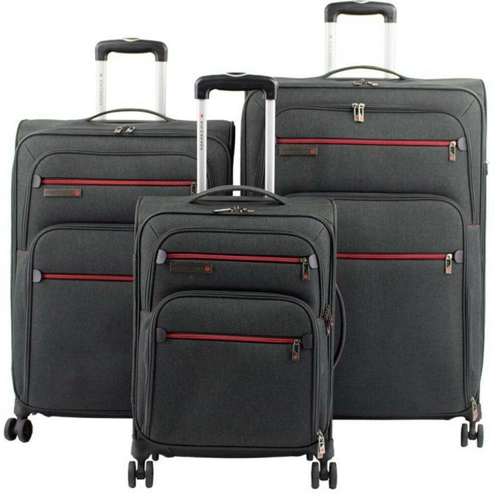3 piece soft sided expandable spinner luggage