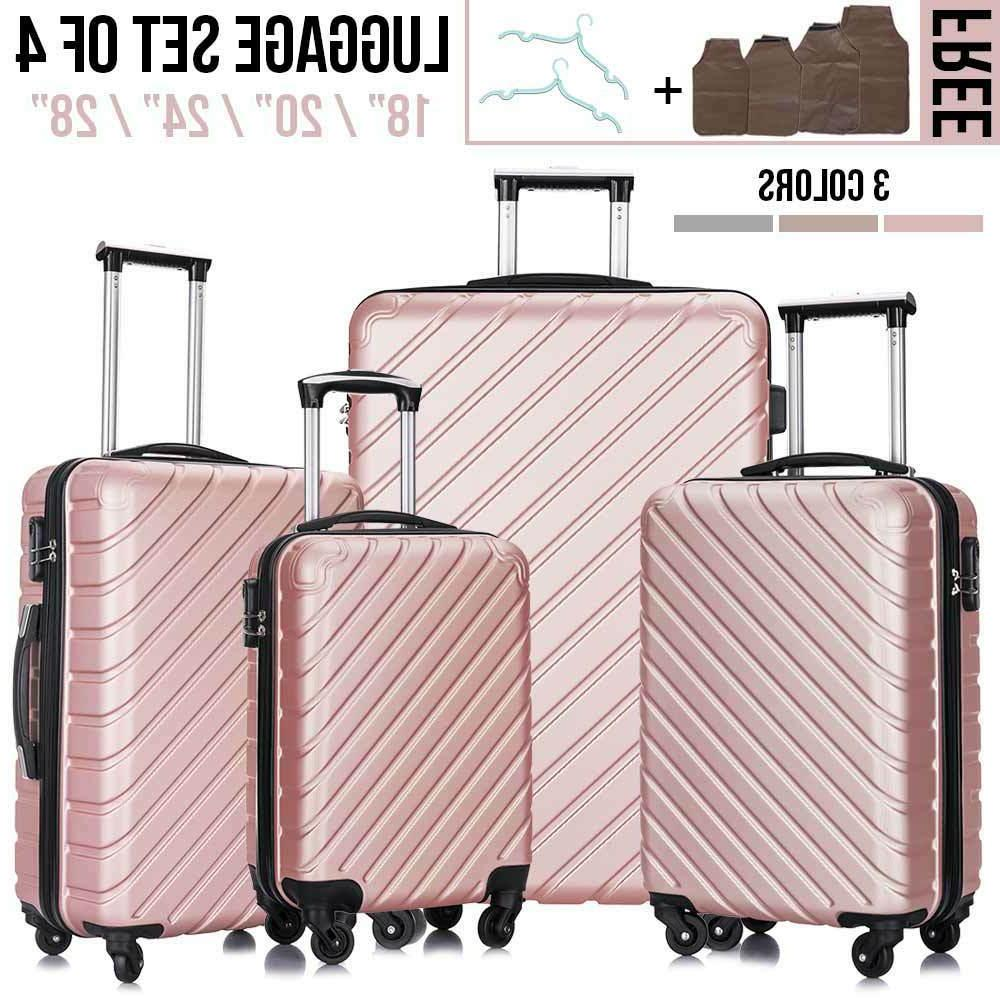 4 Pcs ABS Trolley Carry On Travel Luggage Set+Backpack Spinn