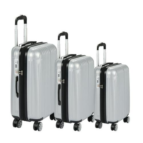 3PCS Luggage Expandable Set Travel Bag ABS Spinner Suitcase