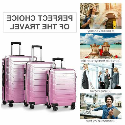 "3PCS Set Suitcase PC+ABS Lock 20"" 24"" Pink"
