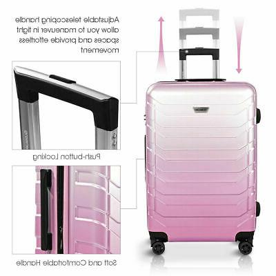 "3PCS Luggage Set Expandable Suitcase Spinner Lock 20"" 24"" Pink"