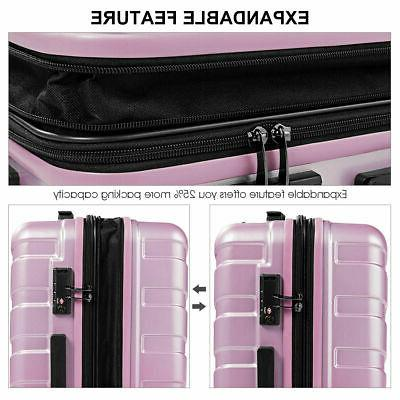 "3PCS Set Suitcase W/TSA Lock 20"" 28"" Pink"