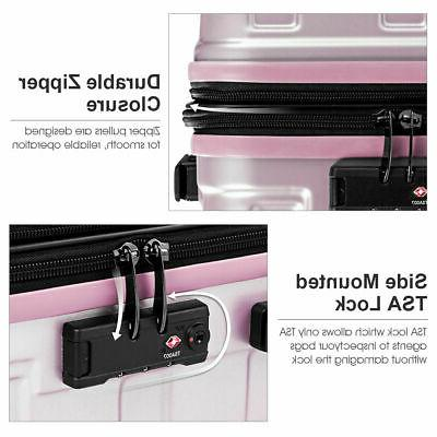 "3PCS Luggage Set Suitcase PC+ABS Lock 24"" 28"" Pink"
