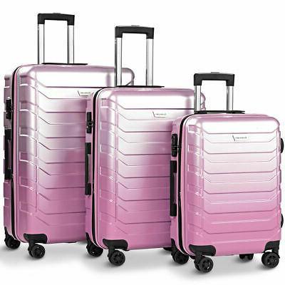 "3PCS Set Suitcase Spinner Lock 20"" Pink"