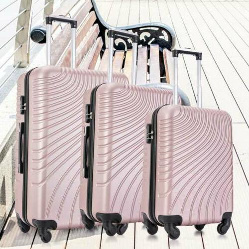 """20""""/24""""/28"""" of 3 Luggage Set Trolley Spinner ABS Pink"""