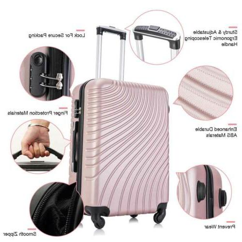 """20""""/24""""/28"""" Set of Luggage Trolley Suitcase Pink"""