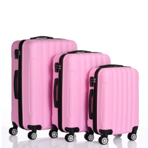 3PCS LUGGAGE ABS TROLLY CUTE PINK