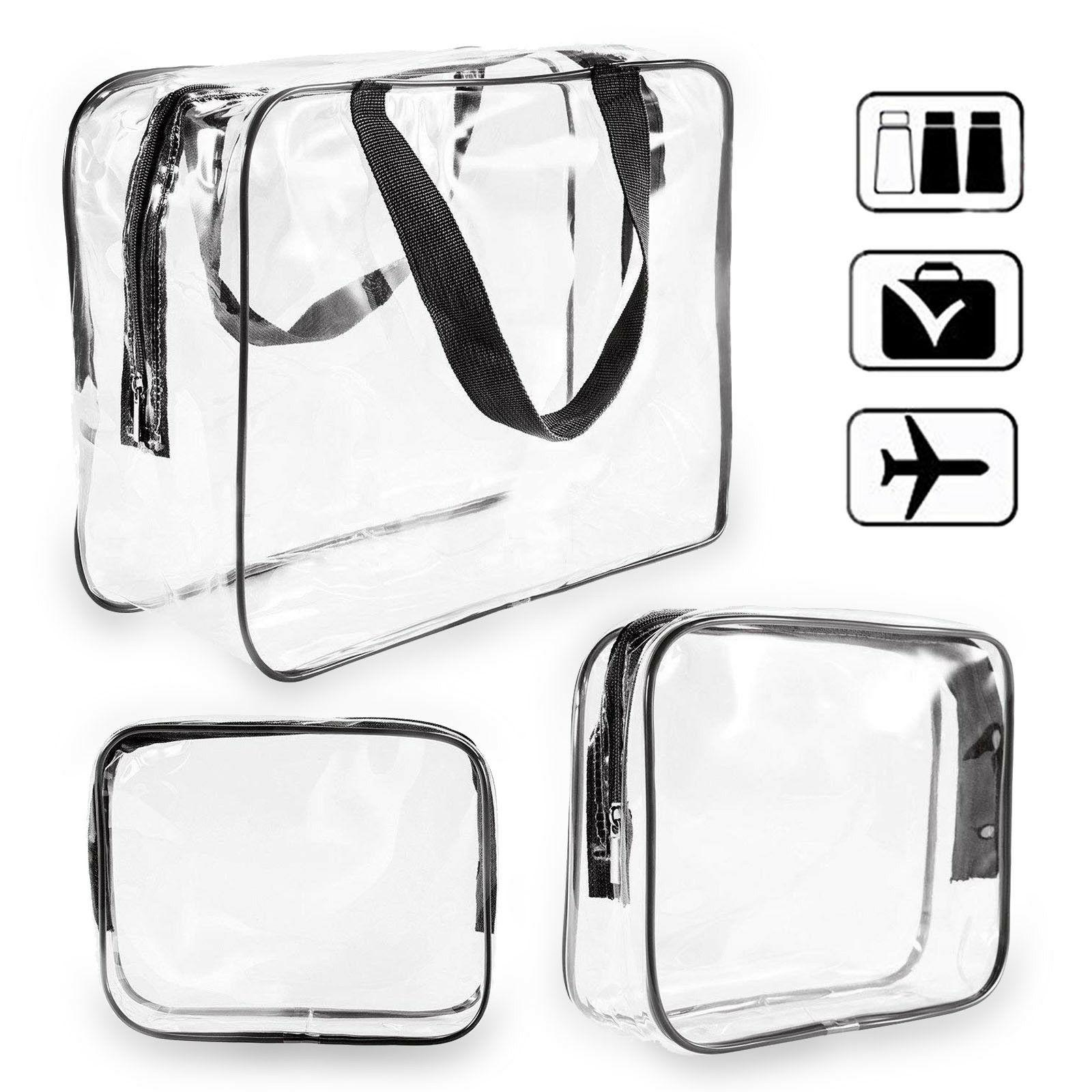 3pcs/Pack Clear Toiletry Bag Travel Luggage Pouch Makeup Bag