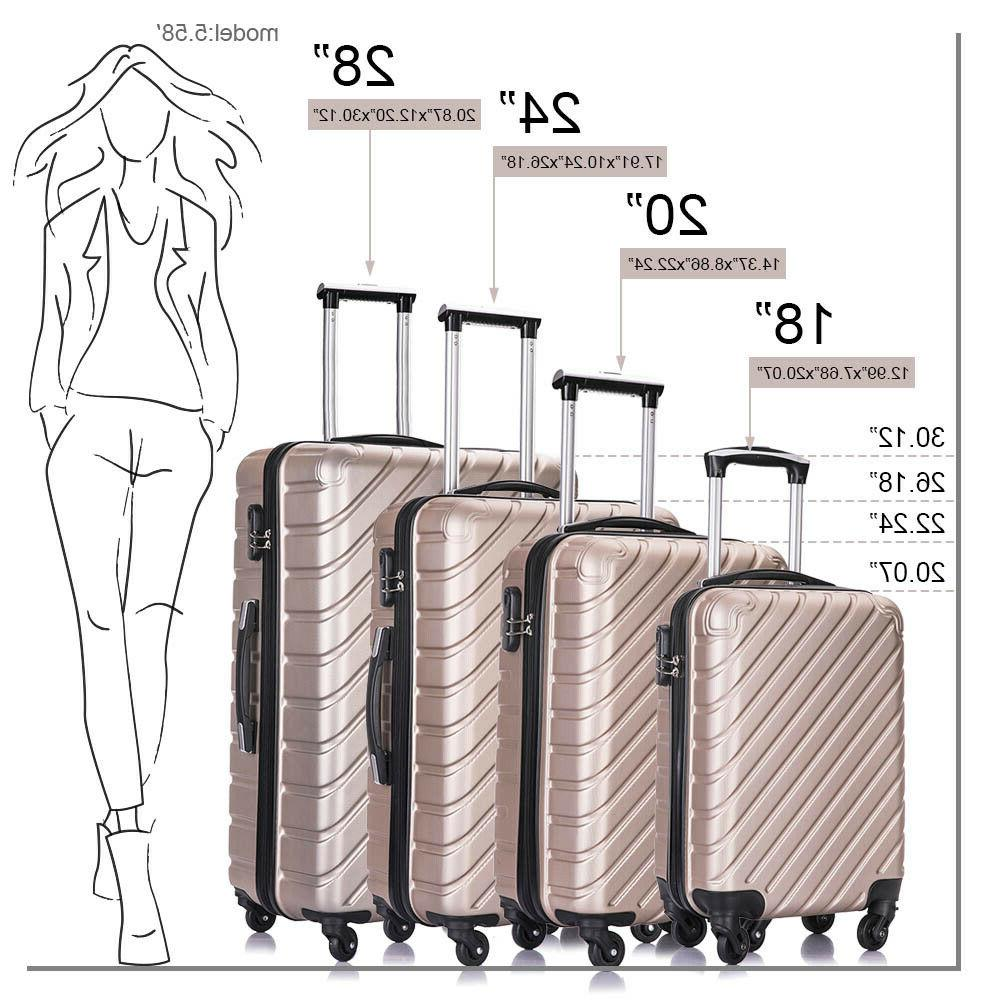 Luggage Trolley Hard Shell Suitcase of 4