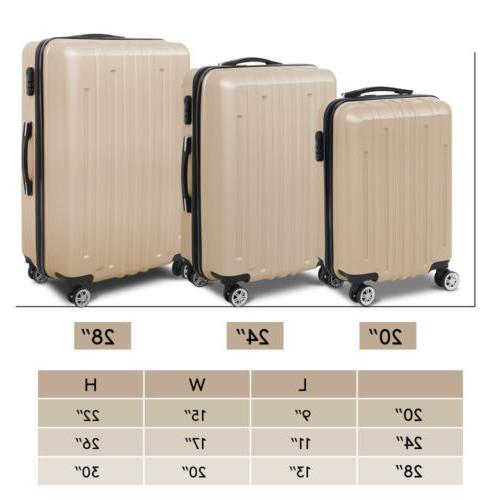 3PCS Travel Bag Case Trolley ABS Spinner Flight Carry On Suitcase